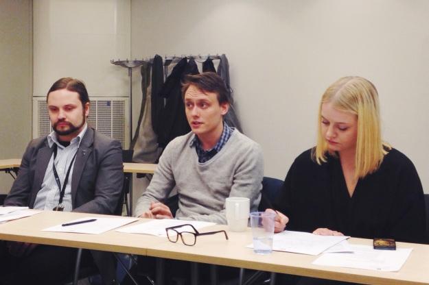 Bilden föreställer Kalle Bäck från KDU, Anders Lindell från Grön Ungdom och Hanna Cederin från Ung Vänster.